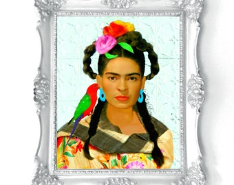 Frida Kahlo Painting Print Instant Digital Download Parrot Rebozo Photomontage Turquoise Blue Green Red Yellow Black White Small to Poster
