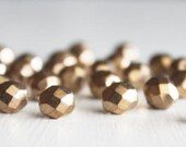 25 Bronze Color 8mm Faceted Rounds - Czech Glass Beads