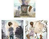SALE - Zombie - Set of 3 Illustrations - Whimsical Art - Zombie Apocalypse - Zombie Art - The Walking Dead - Cute Zombie - Zombie Wedding