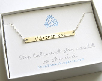 Inspirational Jewelry • Gift for Runner • Engraved Bar Necklace • Runner's Necklace • Marathon Jewelry • Fitness Jewelry • Inspired
