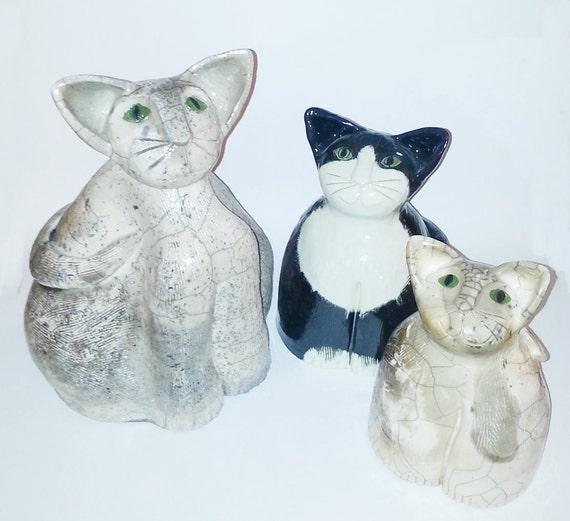 Ceramic Raku fired Cat art sculpture: Hand built OOAK gray black white pottery pet memorial feline design Firecat Pottery unique watch cat