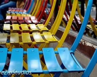 Paris cafe chairs photograph. Paris photography, urban, colourful, colorful, art print, Paris art, chairs