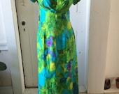 1960s Hawaiian Watercolor Mod Maxi Hostess Muu Muu Lounging Caftan Dress Watteau Scoop Back Tiki Party