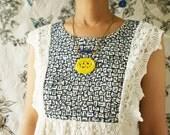 Vintage deer statement necklace, vintage glass pendant, bright yellow glass forest deer motif tribal pendant statement necklace