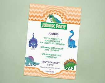 Dinosaur party invitations Jurassic Park party personalized invites printed birthday party invitation printing