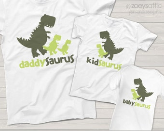 dinosaur - daddysaurus, kidsaurus, babysaurus matching shirts for dad and kid and baby - great gift for Dad and father's day MDF1-016