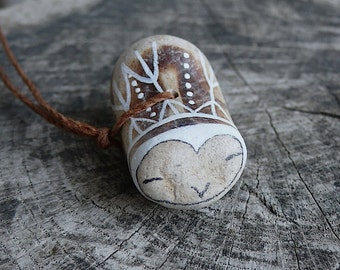 Beach Pottery Owl Necklace