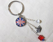LONDON Charm Cluster Keychain - Union Jack Key Ring - International Flags
