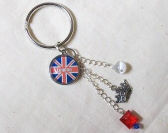LONDON Charm Cluster Keychain - Union Jack Key Ring - International Flags