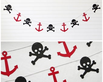 Pirate Garland - 5 inch Anchor & 4.25 inch Skull - Pirate Party Decor Skull Banner Anchor Garland Pirate Birthday Party Banner Pirate Decor