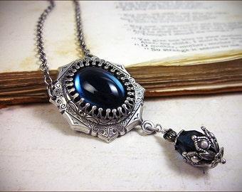 Dark Blue Renaissance Necklace, Tudor Jewelry, Borgias, Medieval Wedding, Ren Faire Wedding, Bridesmaid Accessories, Bridal, MedCol