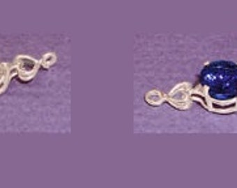 Sterling Silver ~ 6mm 7mm or 8mm ~ Round cut ~ Heart Design ~ Bracelet links settings / Mountings ~ to be ordered ~ #167812 ~ FDK