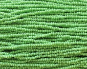8/0 Opaque Lime Green Czech Glass Seed Bead Strand (CW79)