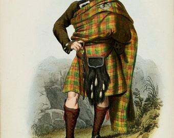 Clan Buchanan Scottish Highlander ~ Traditional Tartan and Arms ~ ca 1845 -  Giclee print