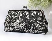 Floral Black Lace Clutch | Bridesmaid Clutch | Black and White Wedding IRIS