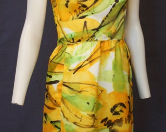 Vintage 60's WIGGLE Watercolor dress Size Small