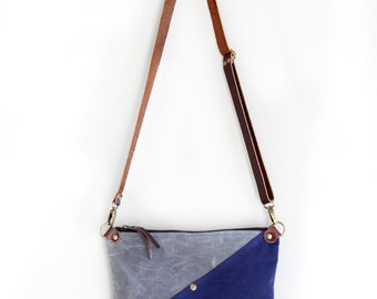 Waxed Canvas Day Bag Purse in Charcoal and Navy with an Exterior Pocket