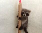 Raccoon Felted Miniature , Poseable, Tiny