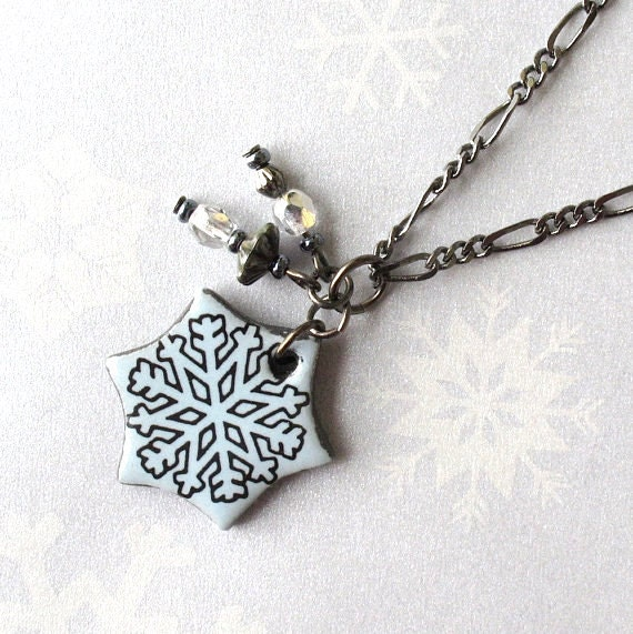 20% OFF SALE! Snowflake Necklace. Sky Blue. Black Porcelain. Light Blue. Winter Jewelry. Gunmetal Chain. Glass Beads. Ceramic. Clay. Snow