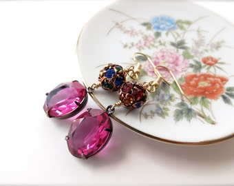 Dark Pink Glass Pendant Earrings, Multicolored Rhinestone Accents,  Old Hollywood Glamour, Gold Hypoallergenic Surgical Steel