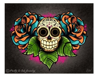 Sugar Skull and Roses - Dia de los Muertos Art Print - 8 x 10 - Prints for Pits Rescue Donation