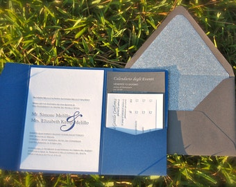 Modern and Clean Letterpress Wedding Invitations, Navy Blue and Gray Wedding Invitations, Letterpress Wedding Invites, White Ink Printing