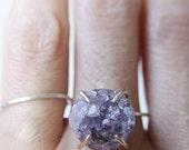 ON SALE Lavender druzy Ring Gold Filled