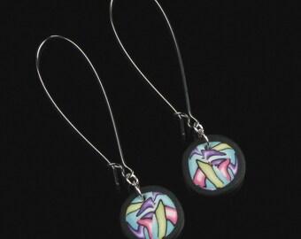 Modern Art Earrings - Unique Gift for Women - Modern Earrings - Colorful Earrings - Handmade Earrings Jewelry Gift - Contemporary Art