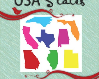 STATE SILHOUETTES - United States - Vector Clip Art Svg Eps Ai Gsd Cricut Vinyl Digital Download