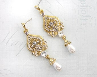 1920s Gold Earrings, Bridal Gold Pearl Earrings, Gold Chandelier Earrings, Gold Vintage Inspired, Hollywood Earrings  - 'ALISA'
