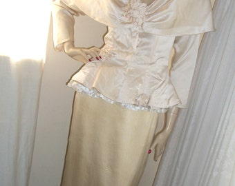 Victorian Style Vintage Cream Silk Wedding Dress Set Saint Romei Size M As-Is