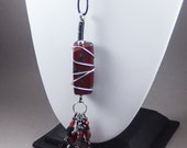 Handcrafted Long Tassel Necklace - Red Jasper No. 164