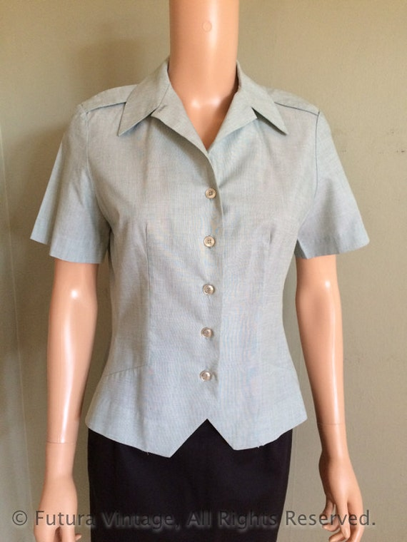 SALE 1950s 1960s Ladies Army Issued Fitted Short Sleeve Dress Shirt-S