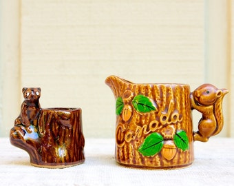 Vintage Souvenir Ceramic Creamer and Toothpick Holder, Woodland Squirrel and Bear, Canada