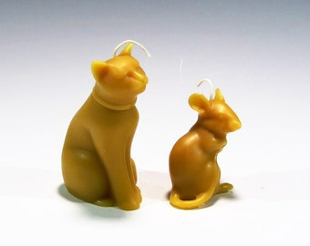 Beeswax Cat and Mouse Candles