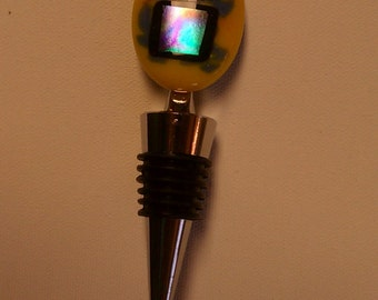 Fused glass wine stopper, wine stop, glass wine stopper, fused glass barware, wine stopper, fused glass, yellow fused glass, dichroic glass