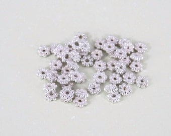 NEW Price, 4mm, Bright Silver Plated Bali Spacers, 50 per lot, Necklace, Earrings, Bracelet, Jewelry Findings, DIY Jewelry