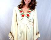 Amazing Vintage Gunne Sax Fairy Goddess Dress - Belled Angel Sleeves - Apple Trim