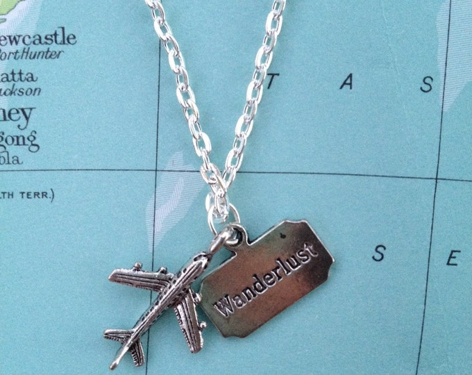 Silver Travel Wanderlust Plane Necklace.
