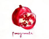Pomegranate - Watercolor - 11x14 Print  - Illustration - Fruit - Cook - Kitchen Art - Food Lover