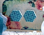 Buy 1 Get 1 Free - 20pcs  (WE19)  Hexagon Handmade Photo Wood Cut Cabochon (Back White)