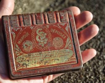 "Antique French Medicine Book Shaped Tin ""Pastilles de Docteur L. Guyot"" Throat & Respiratory Pastilles c.1930"