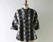 Vintage Plaid Mohair Fuzzy Wool Cape - Black and White and Grey Diamond Knit