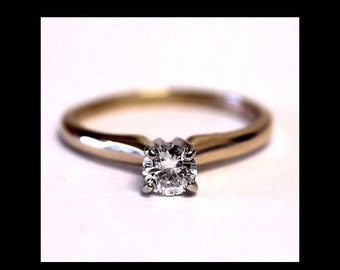 Vintage 14K Yellow Gold Solitaire DIAMOND ENGAGEMENT  Anniversay Promise Ring