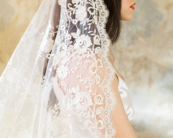 Mantilla Veil, Cathedral Veil, Ivory Veil, Wedding Veil,All Lace Veil, Vintage Veil, Long Mantilla Veil, Bridal veil, Blossom Mantilla Veil