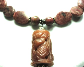 Pink Rhodonite Necklace Pink Rhodonite Carved Bead Necklace with Rhodonite Beads and Sterling