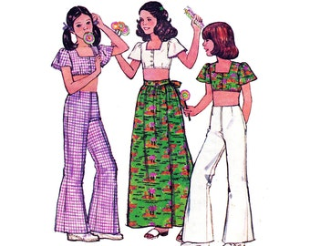 70s Boho Girls Midriff Top Bell Bottoms Wrap Skirt Pattern Simplicity 6425 Chubbies Pattern Size  8 1/2 C and 10 1/2 C UNCUT Ff