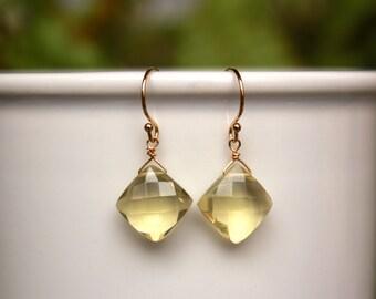 Yellow Topaz Earrings, You Choose Silver or Gold, Topaz Gemstone Earrings, Lightweight, Yellow Topaz Simple Earrings, Free Shipping