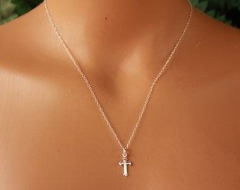 Sterling Silver Cross Necklace, Dainty Cross Necklace, Minimalist, Charm, Delicate Necklace, Layering, Layered Necklace, Simple Cross Charm