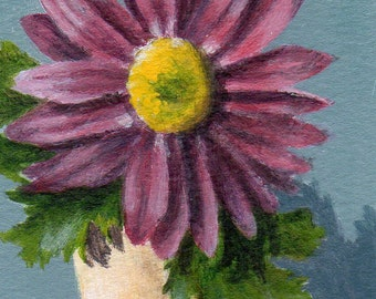 ACEO Original Still Life Acrylic Painting, Small Floral Painting ATC Purple Flower